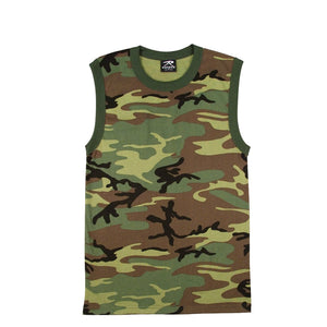 Rothco Camo Muscle Shirt - XL (Woodland) - Stryker Airsoft