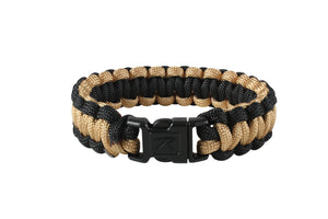 "Rothco Two-Tone Paracord Bracelet - 10"" (Coyote/Black) - Stryker Airsoft"
