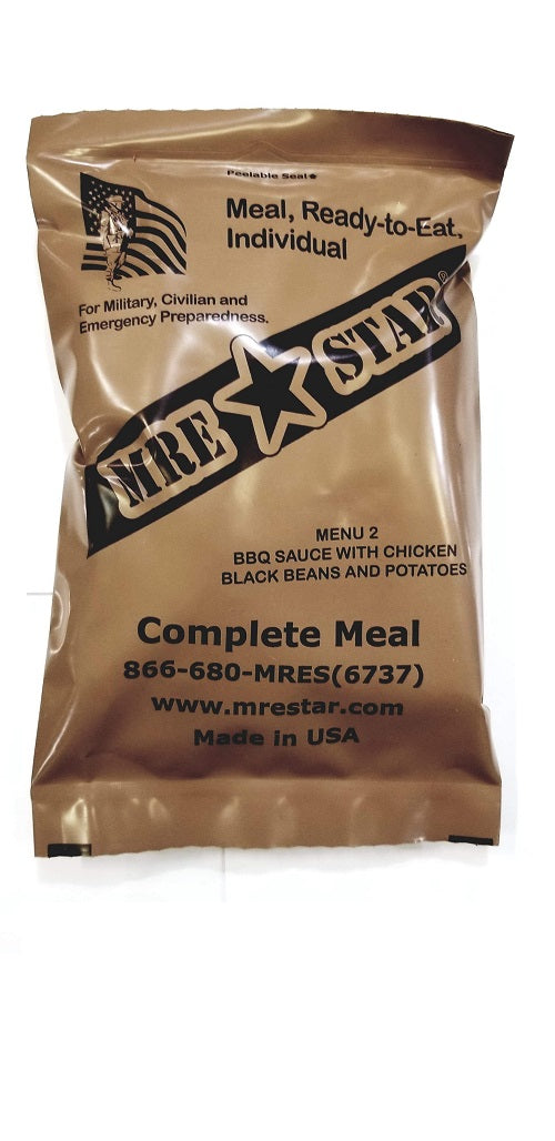 MRE STAR BBQ Sauce with Chicken, Black Beans, and Potatoes MRE w/ Heater - Stryker Airsoft