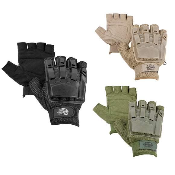 Valken Tactical Half Finger Plastic Back Gloves - Stryker Airsoft
