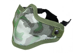 Bravo Airsoft Tactical Gear V1 Strike Steel Half Face Mask (Woodland) - Stryker Airsoft