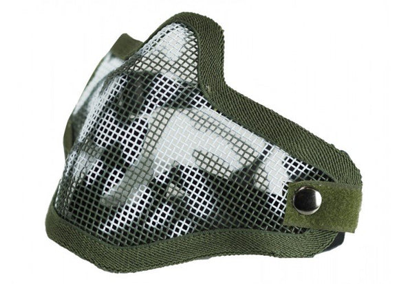 Bravo Airsoft Tactical Gear V1 Strike Steel Half Face Mask (OD Skull) - Stryker Airsoft