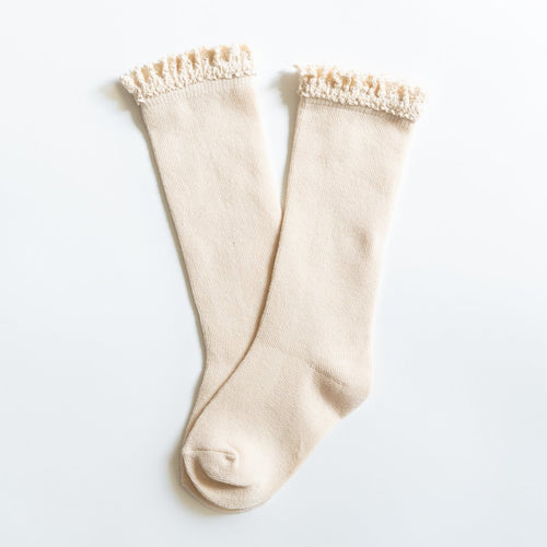 Little Stocking Co. Cream Ivory Knee High Ruffle Socks Cable Knit Off White