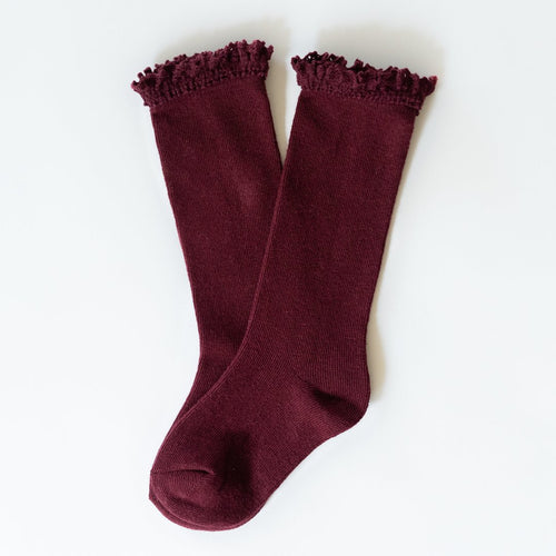 Little Stocking Co. Wine Red Maroon Knee High Ruffle Socks Cable Knit