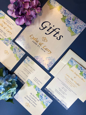 wedding invitations hydrangea