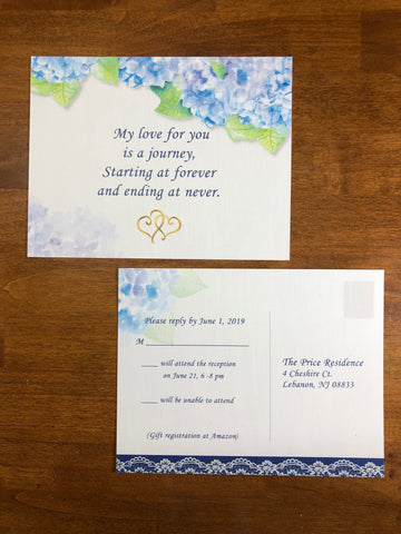 wedding invitations hydrangeas