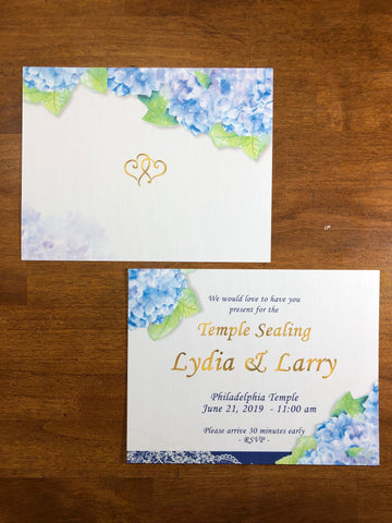 wedding invitation hydrangeas