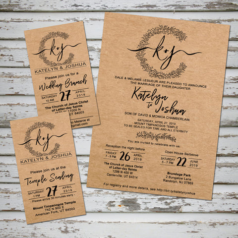 Rustic wedding with personalized logo