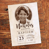 lds baptism event, classic style, invite