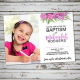lds baptism event, flowers invitation