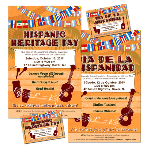 Flyers and postcards Hispanic heritage day