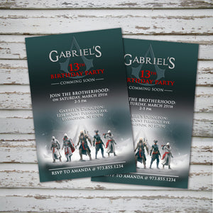 ASSASSIN'S CREED Invitation – Digital file, Assassin's Creed party