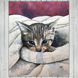 CUTE KITTEN PRINT - Watercolor Printing, Watercolor Traditional Art