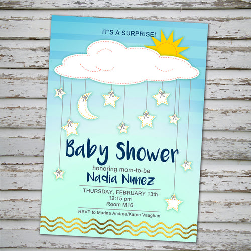 BABY SHOWER CLOUDS, STARS & MOON INVITATION- Surprise Party! - Baby Shower party – Digital file