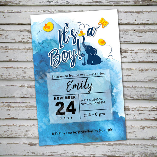BABY SHOWER ELEPHANT WATERCOLOR INVITATION- It's A Boy! - Baby Shower party – Digital file