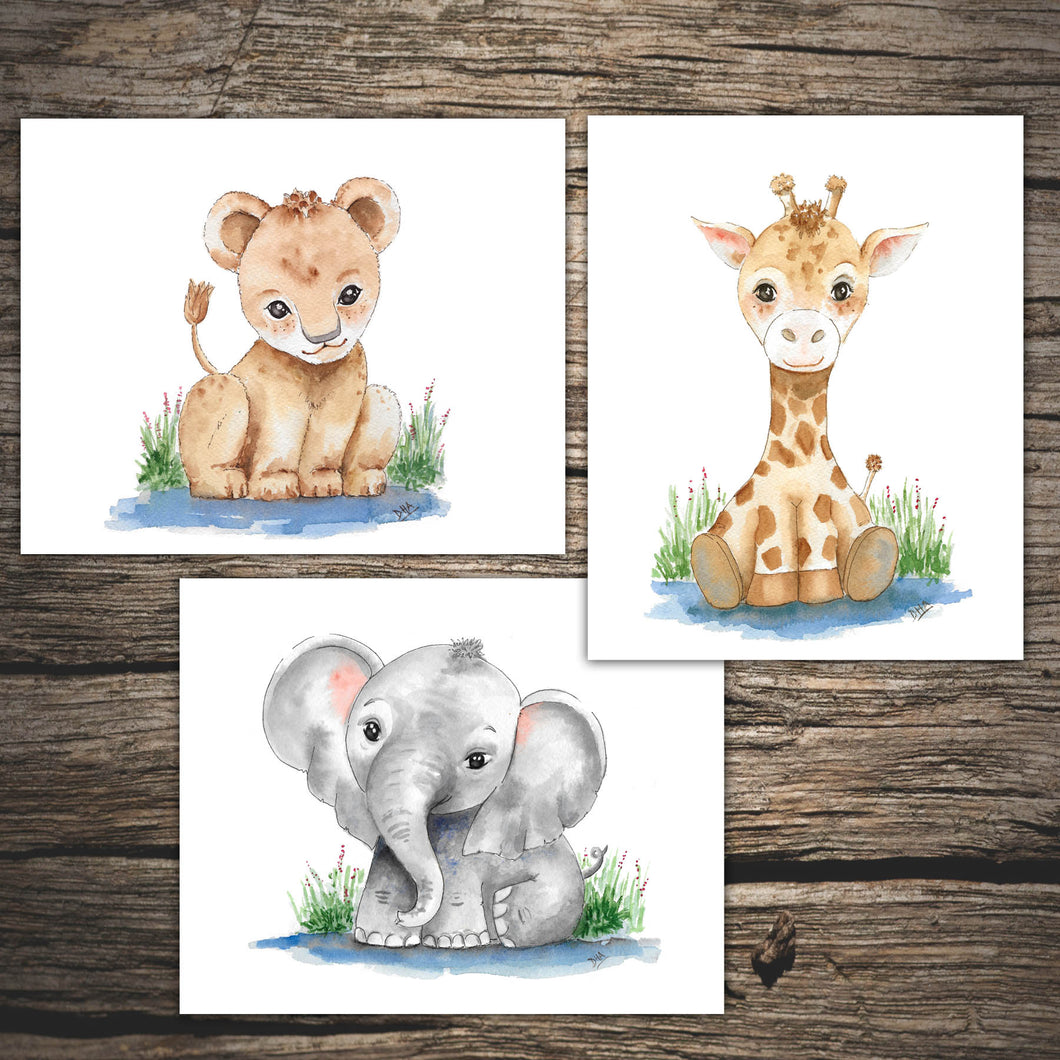 WATERCOLOR SAFARI ANIMALS - Nursery Art Prints - Baby Elephant - Baby Giraffe - Baby Lion