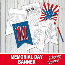 AMERICA BANNER - Color In MEMORIAL DAY BANNER - DIY Patriotic Weekend! - Instant Download