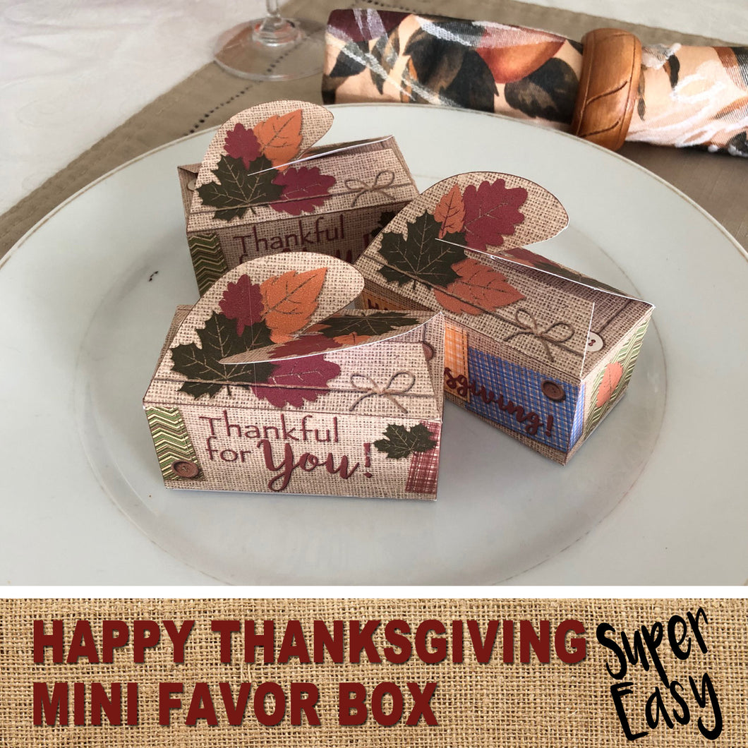 HAPPY THANKSGIVING MINI FAVOR BOX - Burlap Design – Digital file -Instant Download-