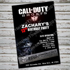 CALL of DUTY - GHOSTS Invitation – Digital file, Call Of Duty party