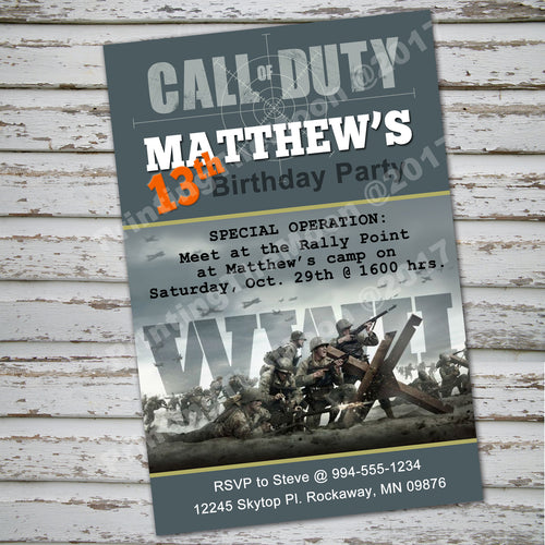 CALL of DUTY - WWII Invitation – Digital file, Call Of Duty party