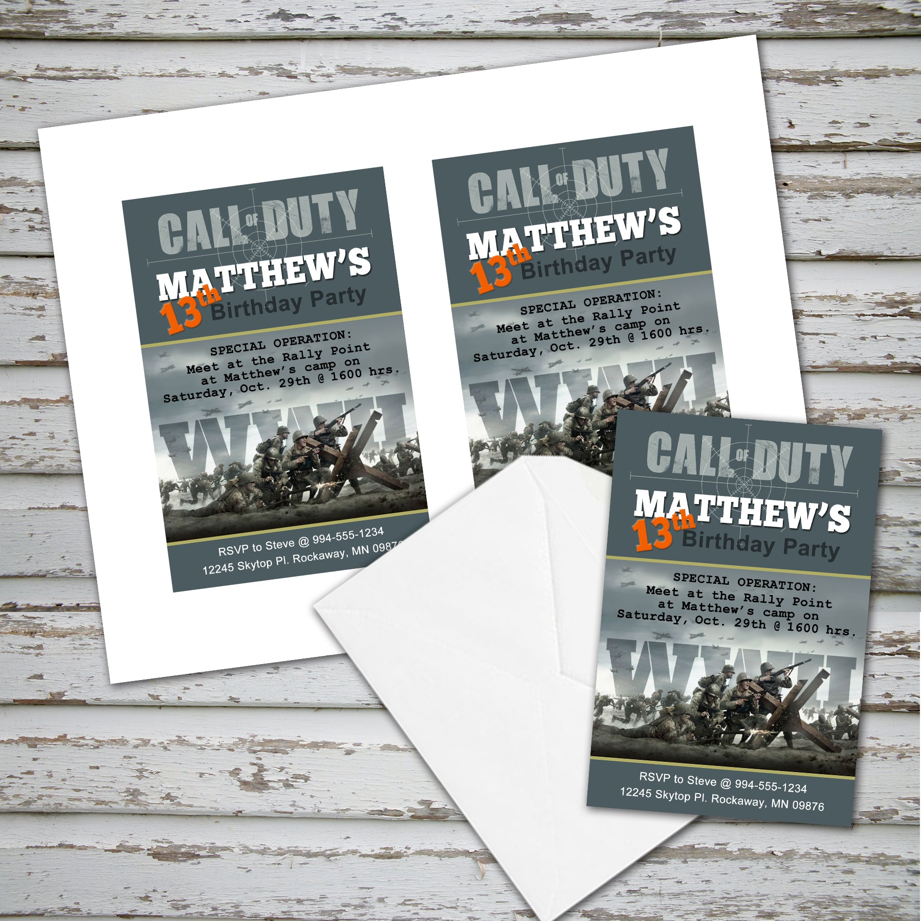 CALL of DUTY - WWII Invitation – Digital file, Call Of Duty party ...