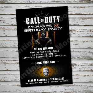 CALL of DUTY Invitation – Digital file, Call Of Duty party