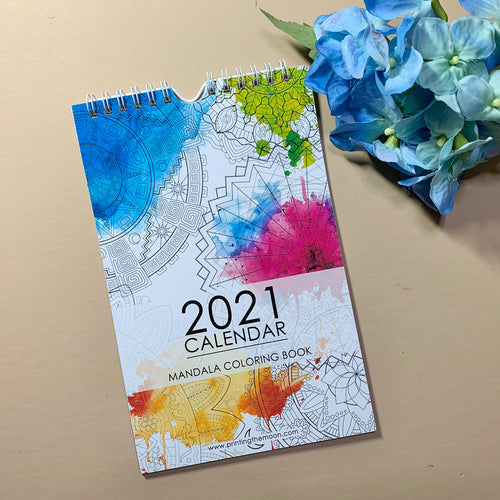 2021 CALENDAR MANDALA COLORING Book - Mandala Designs - Coloring Book wire binding.