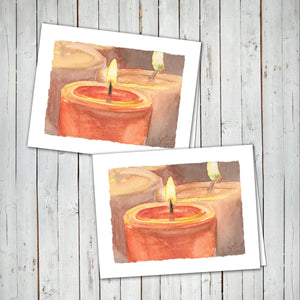 WATERCOLOR CANDLES - WARM WISHES Cards