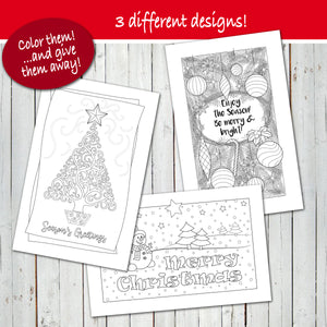 MERRY CHRISTMAS & HOLIDAY GREETING Coloring Cards! - PDF - Digital file -Instant Download-