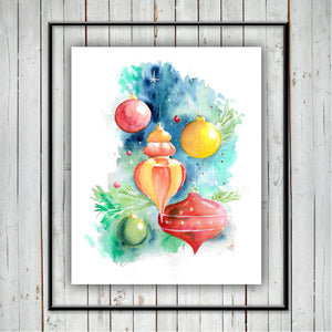 CHRISTMAS ORNAMENTS PRINT - Watercolor Printing, Watercolor Traditional Art