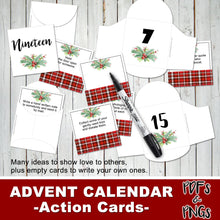 CHRISTMAS ADVENT CALENDAR - Cards & Envelopes - Inspirational Acts of Love - Instant Download