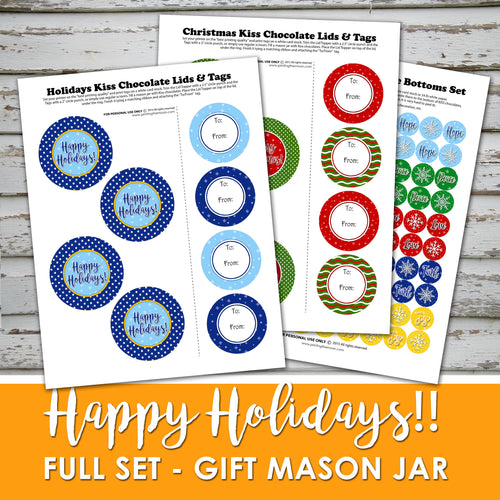 HAPPY HOLIDAYS & MERRY CHRISTMAS MASON JAR GIFT - PDF - Digital file -Instant Download-