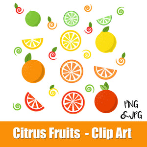 CITRUS FRUITS - CLIP ART- VITAMIN C, orange, grapefruit, lemon, lime - PNG and JPG files -Instant Download-