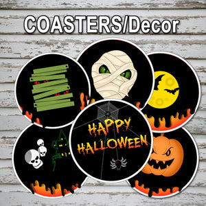HALLOWEEN - COASTERS AND DECOR – Halloween Skeleton Party -Digital file -Instant Download-