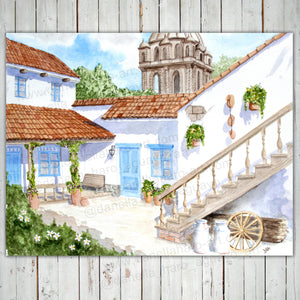 COLONIAL PATIO GICLEE PRINT - Cuzco, Peru - Watercolor Printing, Watercolor Traditional Art