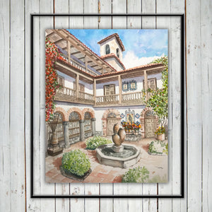 COLONIAL FOUNTAIN & PATIO Giclee Print - Cuzco, Peru - Watercolor Printing, Watercolor Traditional Art