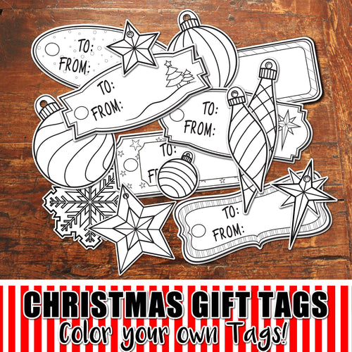 CHRISTMAS GIFT TAGS to COLOR - PDF - Digital file -Instant Download-
