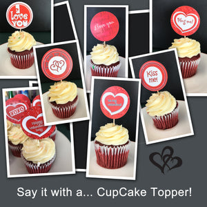 VALENTINE'S DAY Cupcake Toppers - PDF file - Instant Download