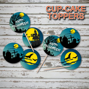HALLOWEEN - Cupcake Toppers – Cemetery Night Party -Digital file -Instant Download-