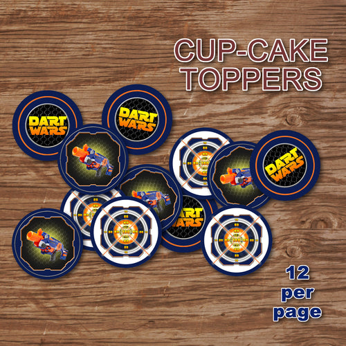 DART GUN WARS - Cupcake Toppers – Collection #2 - Digital file -Instant Download-