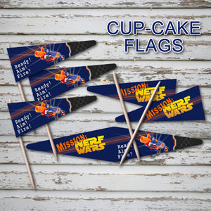 DART GUN WARS - Cupcake Flag Toppers – Collection #4 - Digital file -Instant Download-
