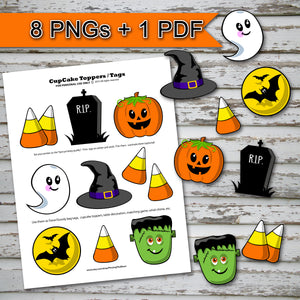 HALLOWEEN - CUPCAKE TOPPERS – PDF and PNGs for your Cutting Machine -Digital file -Instant Download-