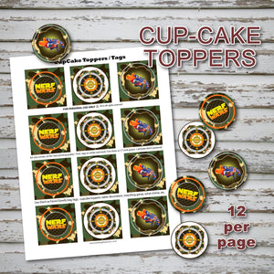 DART GUN WARS - Cupcake Toppers – Collection #1 - Digital file -Instant Download-