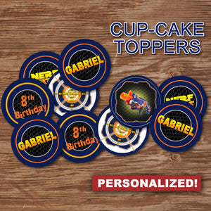 "DART GUN WARS - ""PERSONALIZED"" Cupcake Toppers -Collection #2– Digital file"