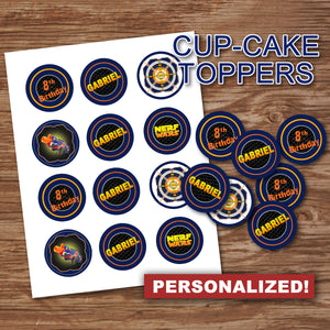 "DART GUN WARS - ""PERSONALIZED"" Cupcake Toppers -Collection #4– Digital file"
