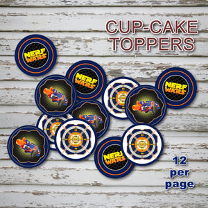 DART GUN WARS - Cupcake Toppers – Collection #4 - Digital file -Instant Download-