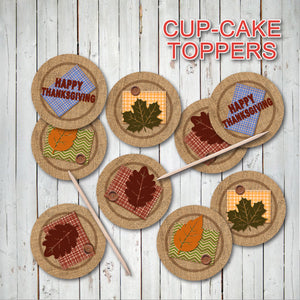 HAPPY THANKSGIVING CUPCAKE TOPPERS – Digital file -Instant Download-
