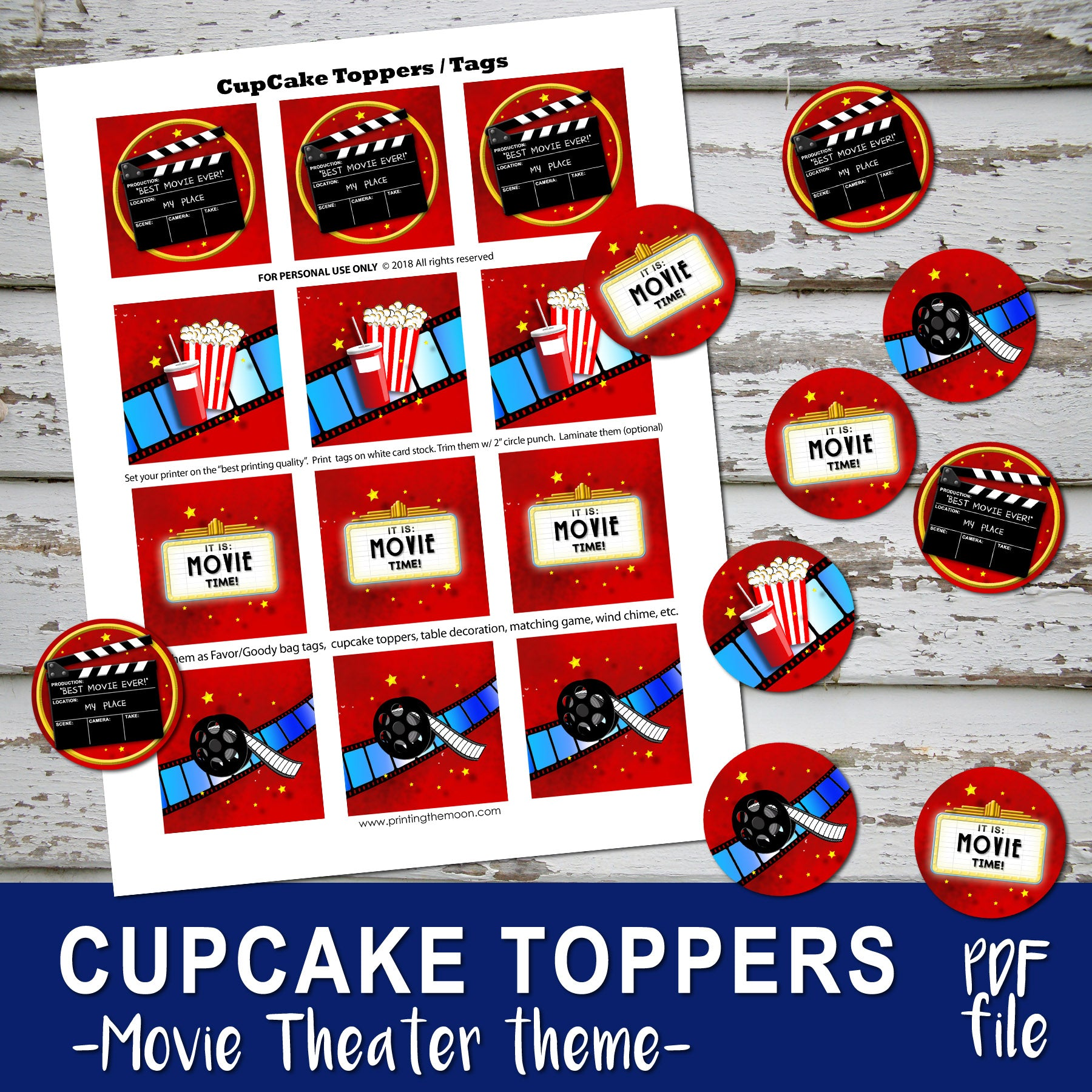Movie Theater Birthday Cupcake Toppers Movies Cinema Party Digit Printing The Moon