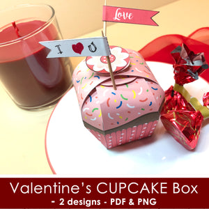 VALENTINE'S DAY CUPCAKE CANDY BOX - PDF and PNG files - Instant Download