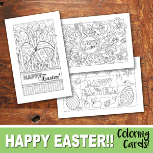 HAPPY EASTER Color In Cards - PDF file - Instant Download